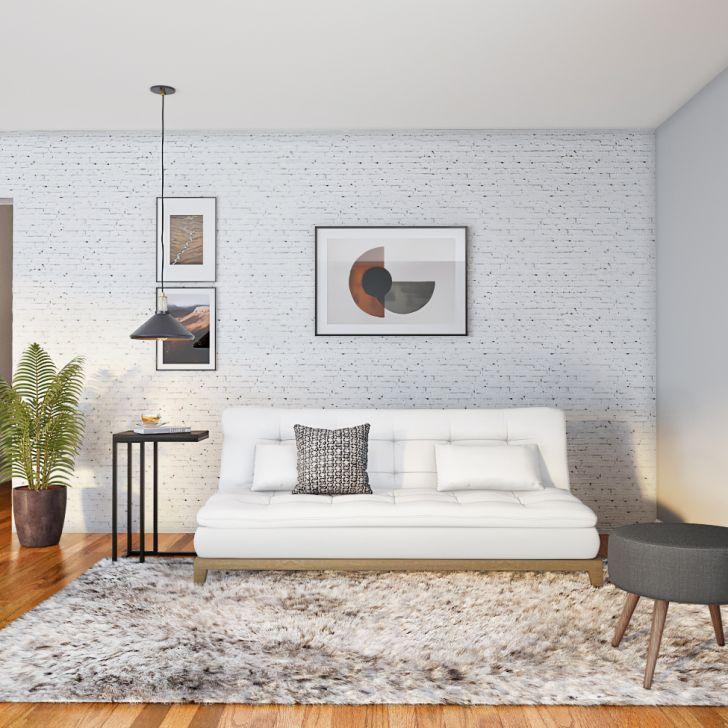 Sofá-cama 3 Lugares Casal Luxo Base E Pés De Madeira Couro Sintético Branco