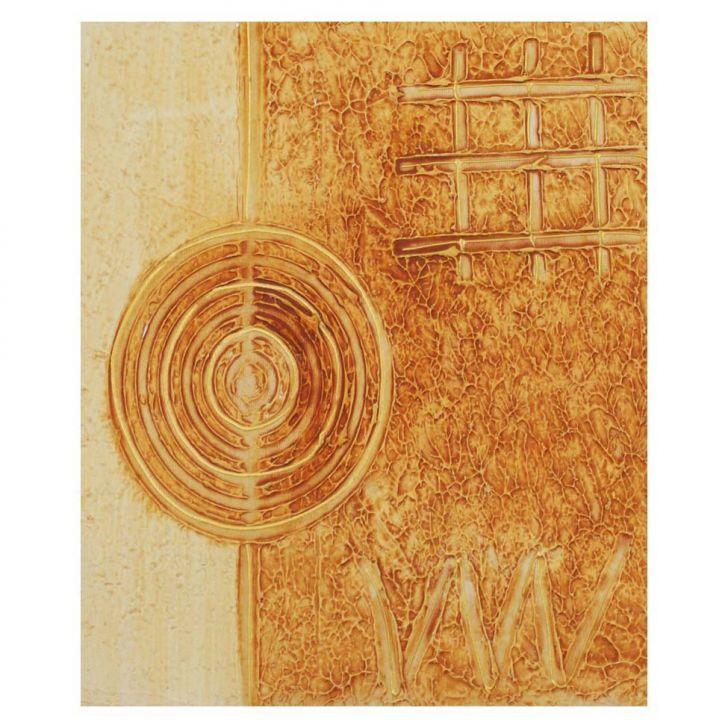 Quadro Artesanal com Textura Abstrato Amarelo 40x50cm Uniart