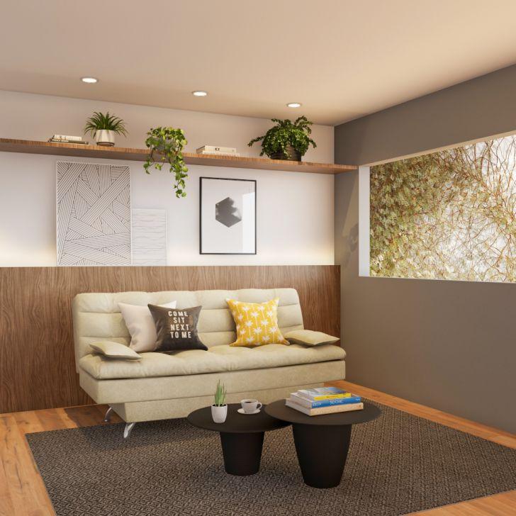 Sofá-cama 3 Lugares Casal Qualidade Suede Velvet Bege