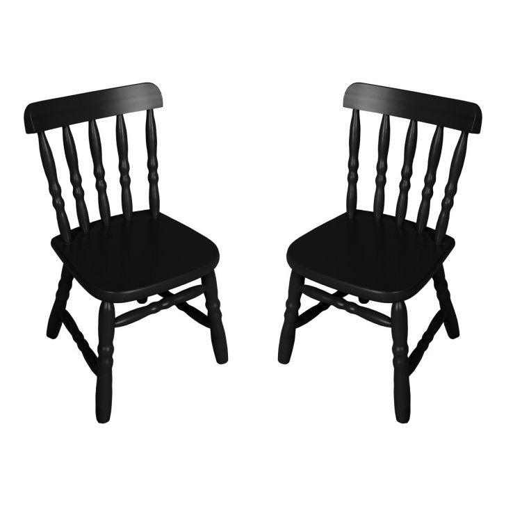 Conjunto 2 Cadeiras Infantil Country Preta