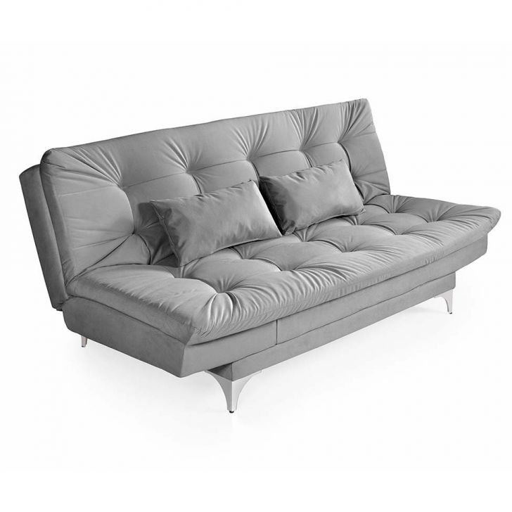 Sofá-cama 3 Lugares Casal Versátil Veludo Liso Cinza