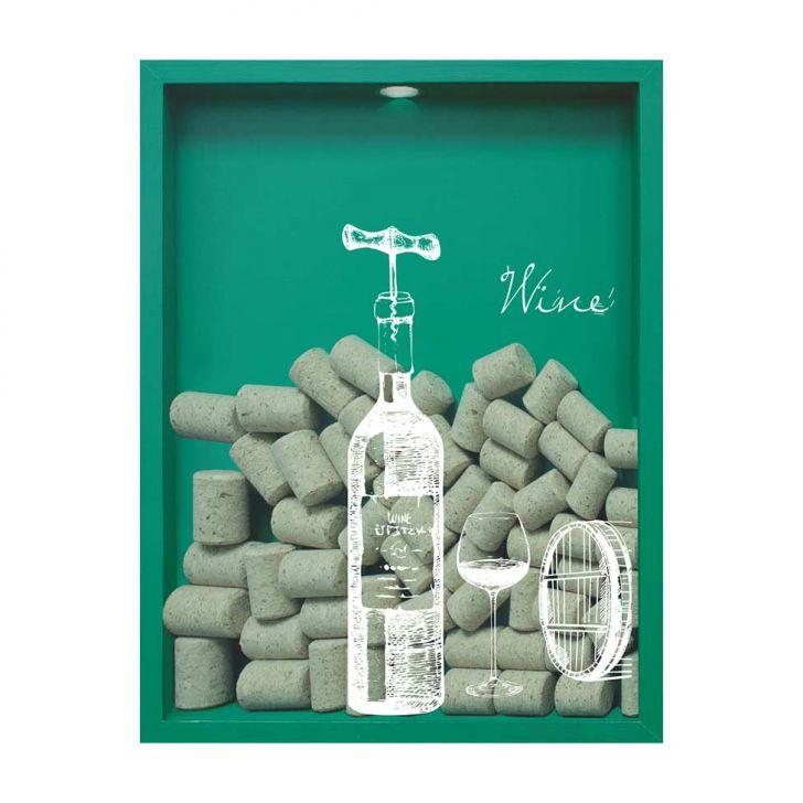 Quadro Porta Rolhas de Vinho Wine Garrafa 32x42x4cm Verde em até 1 vezes sem juros! Devolução grátis em até 30 dias.