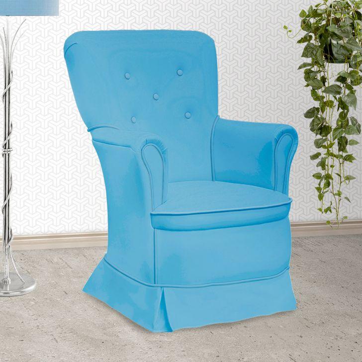 Poltrona Amamentação Sofia Fixa Azul E Branca