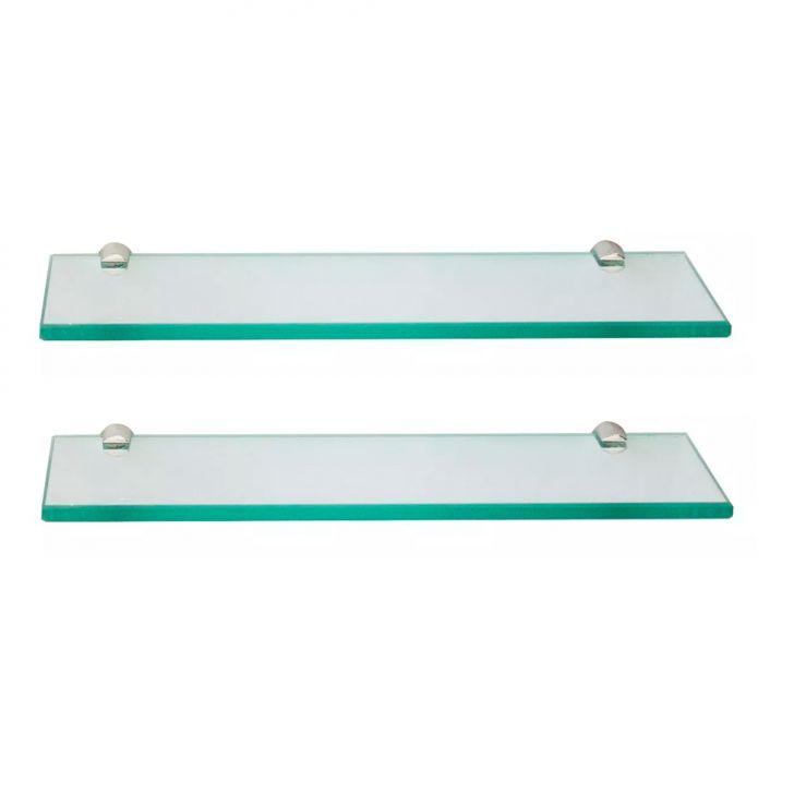 Conjunto Com 2 Prateleiras De Vidro Arpex Incolor (40x10)