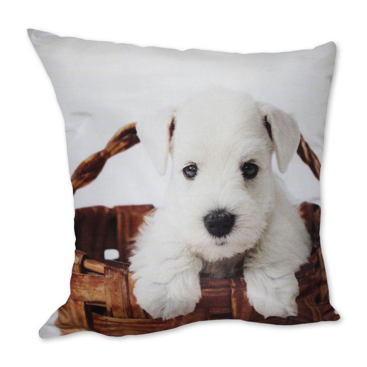 Almofada Cachorro Cesto Branco 42x42cm Uniart