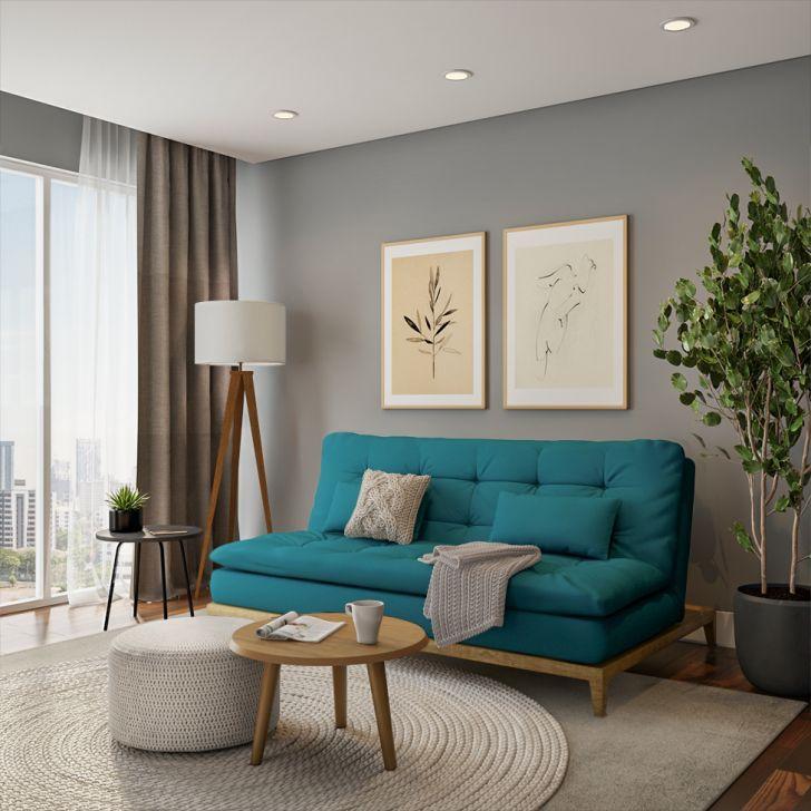 Sofá-cama 3 Lugares Casal Luxo Base E Pés De Madeira Suede Azul