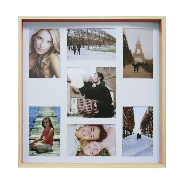 Quadro Para Fotos Wood Natural E Laranja 40x40cm