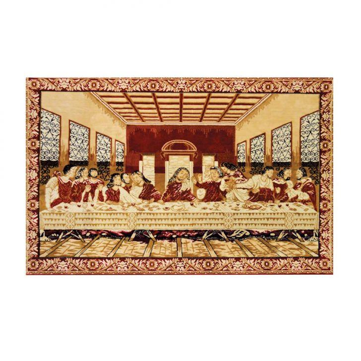 Tapete Retangular Veludo Gobelem Santa Ceia Creme 100x150 cm Cod: 7899084876464
