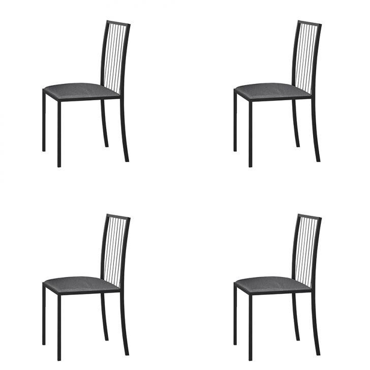 Conjunto Com 4 Cadeiras Atos Linho Cinza E Grafite