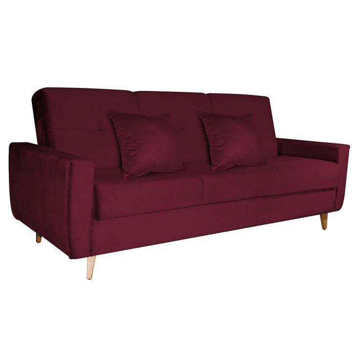 Sofá-cama 3 Lugares Com Baú Pamela Veludo Vermelho
