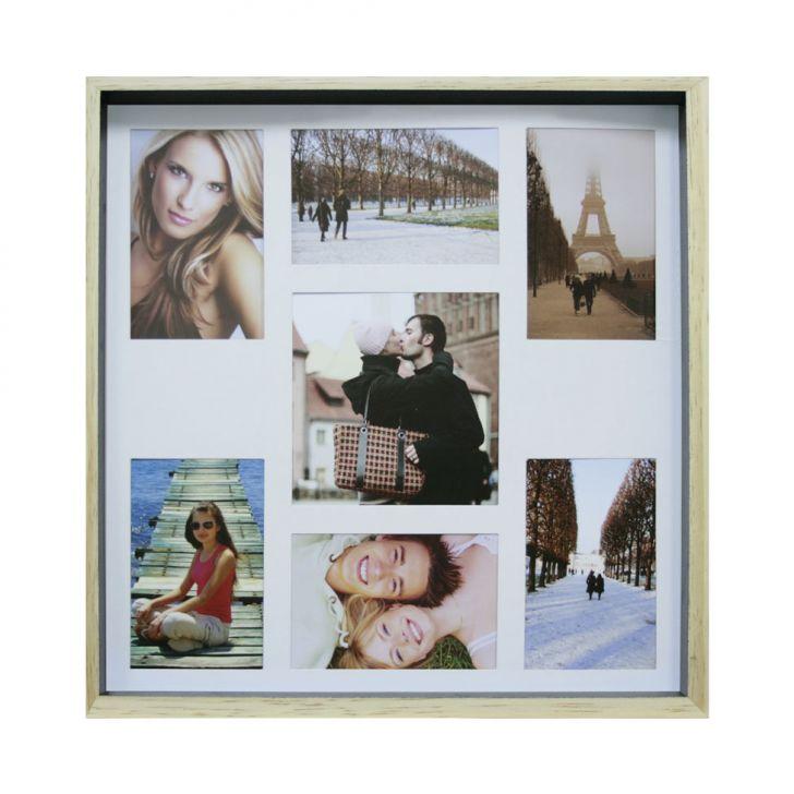 Quadro Para Fotos Wood Natural E Preto 40x40cm