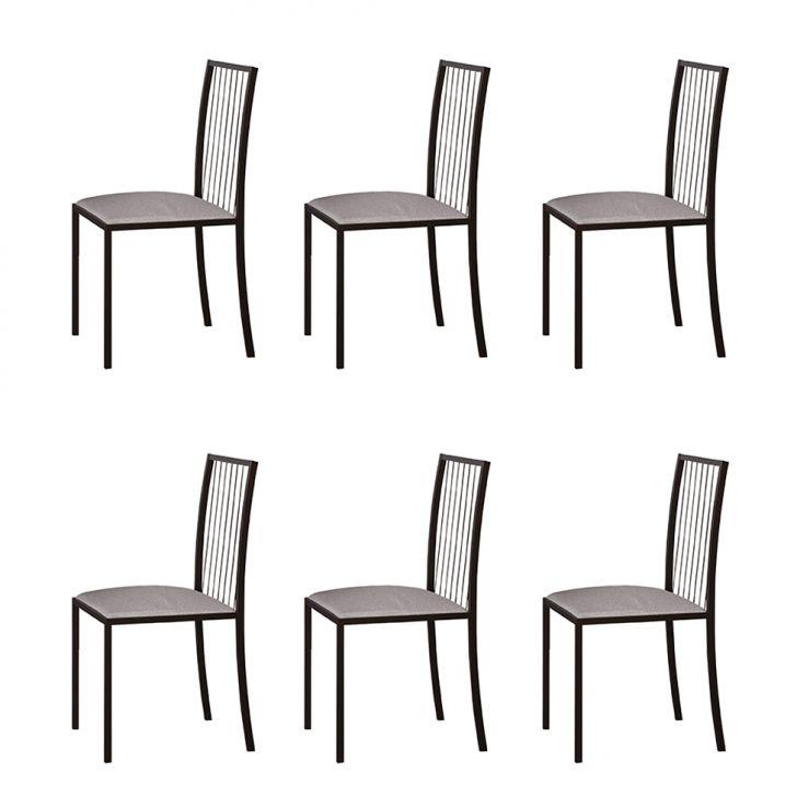 Conjunto Com 6 Cadeiras Atos Linho Bege E Café