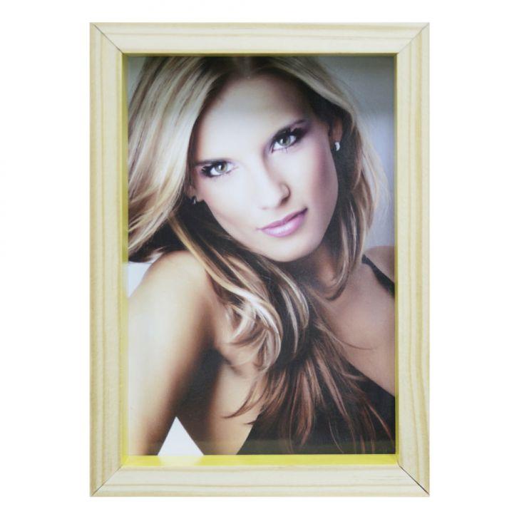 Porta-retrato Wood Natural E Amarelo 12x17cm