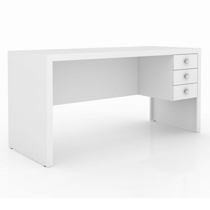 Mesa De Escritório 3 Gavetas Reversível Branca