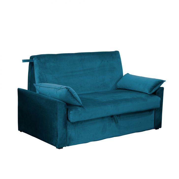 Sofá-cama Casal 2 Lugares Cristal Veludo Com Baú E Almofadas Azul