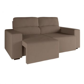 sofa 3 lugares retratil e reclinavel eureka suede bege