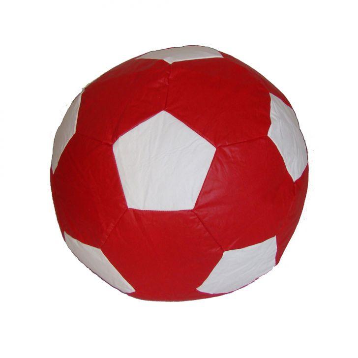 Puff Ball Futebol Infantil Corino Vermelho E Branco