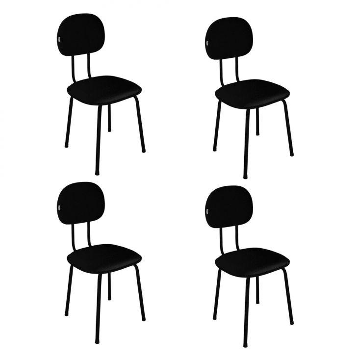 Conjunto Com 4 Cadeiras De Escritório Palito Interlocutor Fixa Tecido Preto