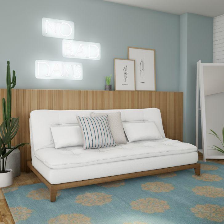 Sofá-cama 3 Lugares Casal Prestigio Base E Pés De Madeira Couro Sintético Branco