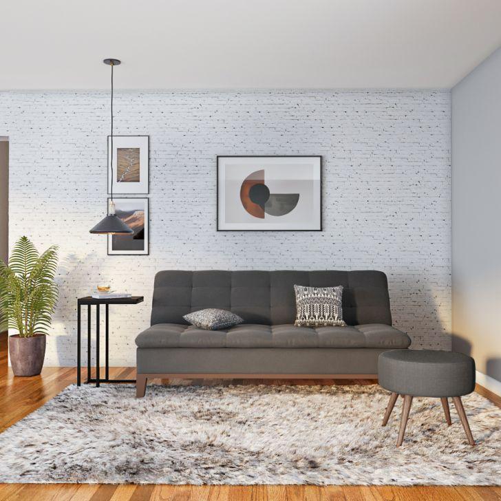 Sofá-cama 3 Lugares Casal Premium Extra Base E Pés De Madeira Suede Cinza
