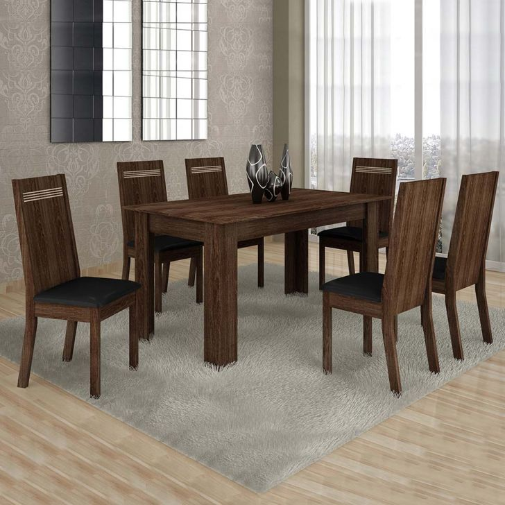 Conjunto de Mesa Ouro Preto 160 cm com 6 Cadeiras Couro Malbec e Preto Cod: