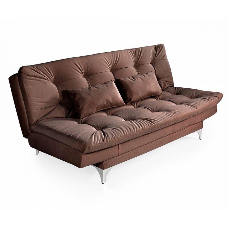 Sofá-cama 3 Lugares Casal Versátil Veludo Liso Marrom
