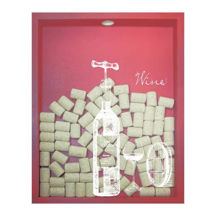 Quadro Porta Rolhas de Vinho Wine Garrafa 32x42x4cm Vermelho em até 1 vezes sem juros! Devolução grátis em até 30 dias.