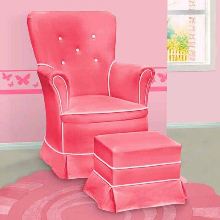 Poltrona Amamentação Sofia Fixa E Puff Rosa E Branca