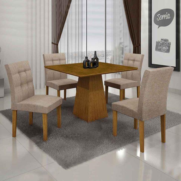 Conjunto de Mesa Itália III com 4 Cadeiras Imbuia Mel e Bege 90cm Cod: