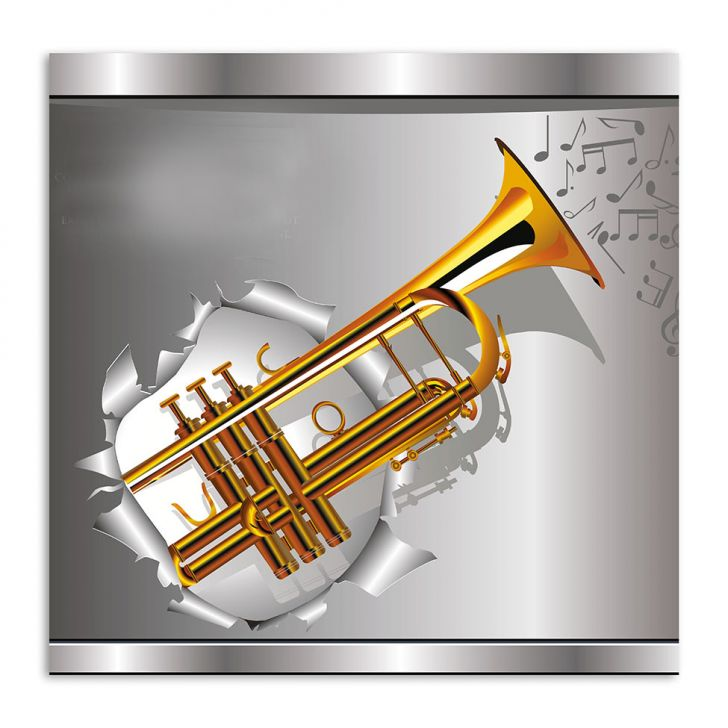 Quadro Trompete Uniart Dourado 45x45cm