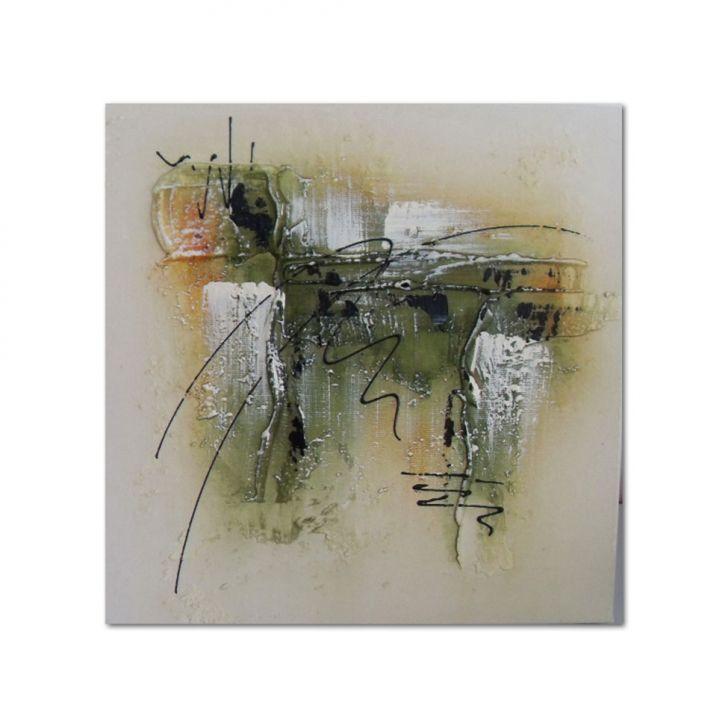 Quadro Artesanal com Textura Abstrato Verde 30x30 Uniart