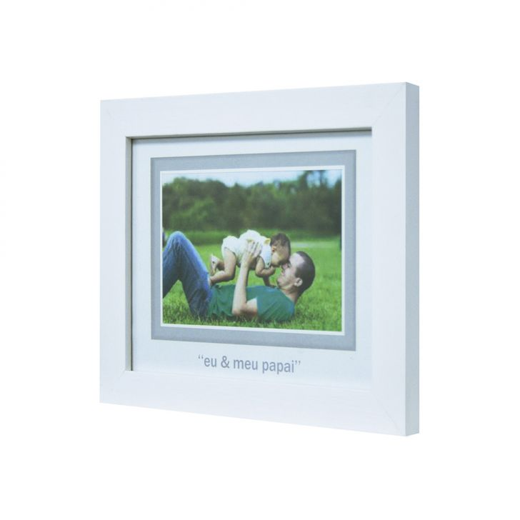 Porta-retrato Baby Decor Papai Branco 10x15cm