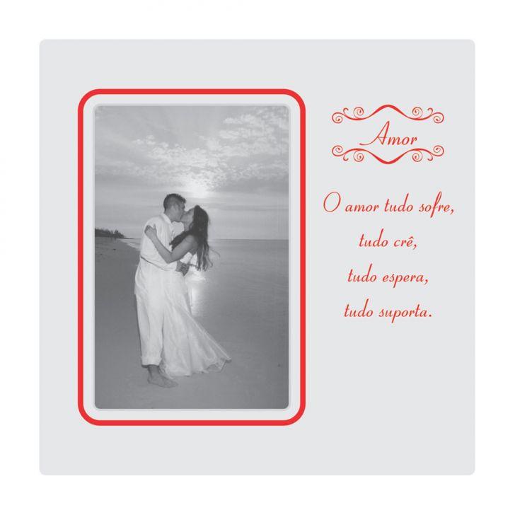 Porta Retrato Plaquet Amor Para 1 Foto 10x15 Branco Kapos