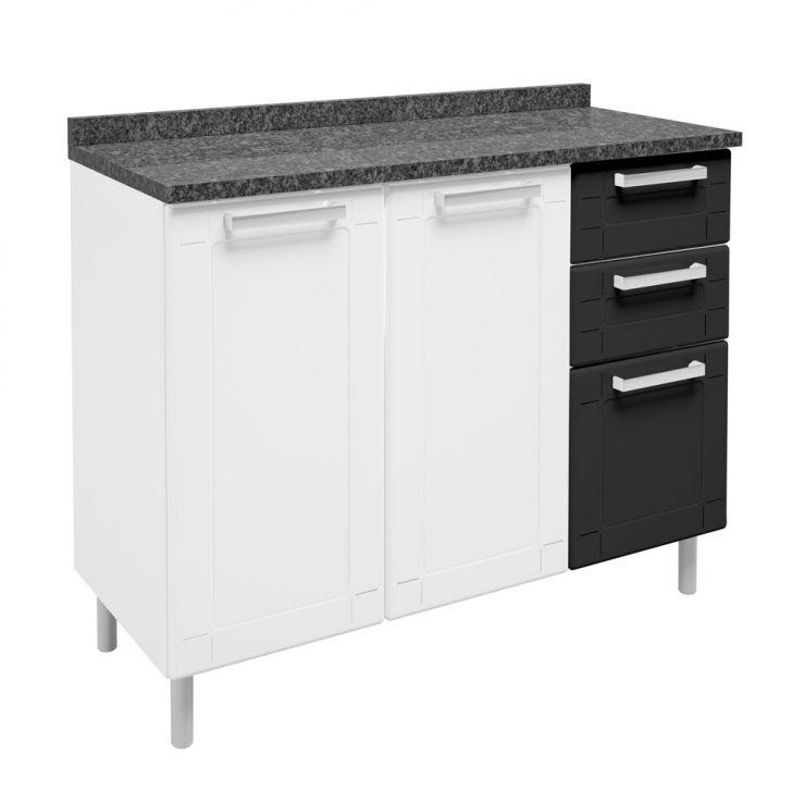 Balcão De Cozinha Multipla Com Tampo 3 Pt 2 Gv Branco E Preto