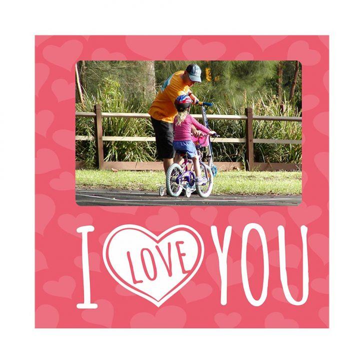 Porta-retrato Namorado I Love You Rosa 20x20cm