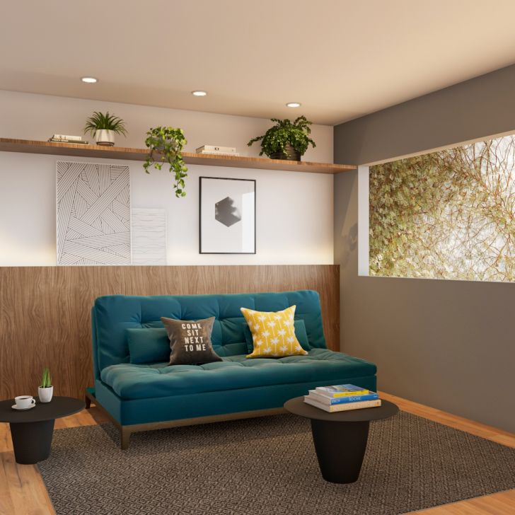 Sofá-cama 3 Lugares Casal Prestigio Base E Pés De Madeira Suede Azul