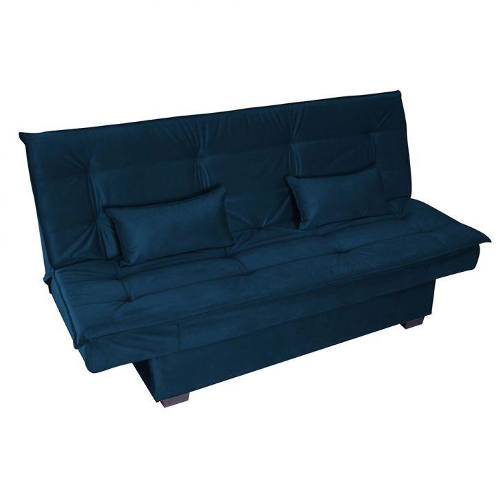 Sofá-cama 3 Lugares Esmeralda Veludo Light Azul Jeans