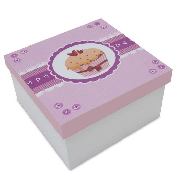 Caixa Cupcake I  15x15x9cm Branco Kapos