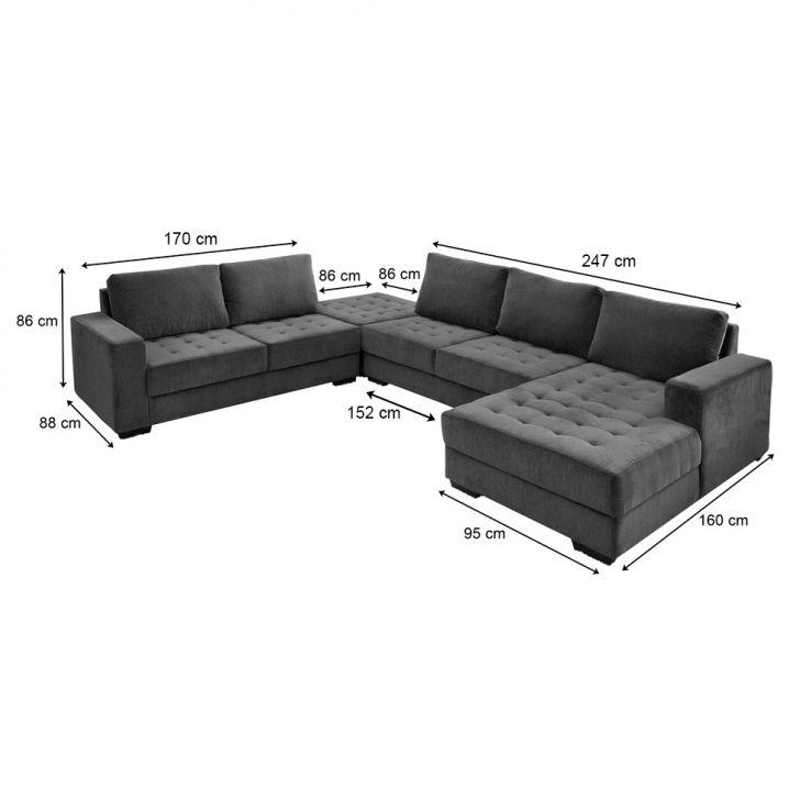 Sof de canto 5 lugares com chaise direito napoli jacquard for Sofa com chaise 5 lugares