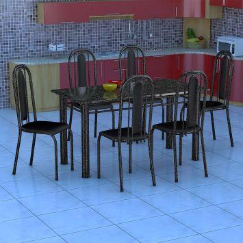 Conjunto de Mesa Granada com 6 Cadeiras Preto Prata e Preto Liso GR DESCONTO DE R$: 700,00 (47,95% OFF) - OFERTA MOBLY