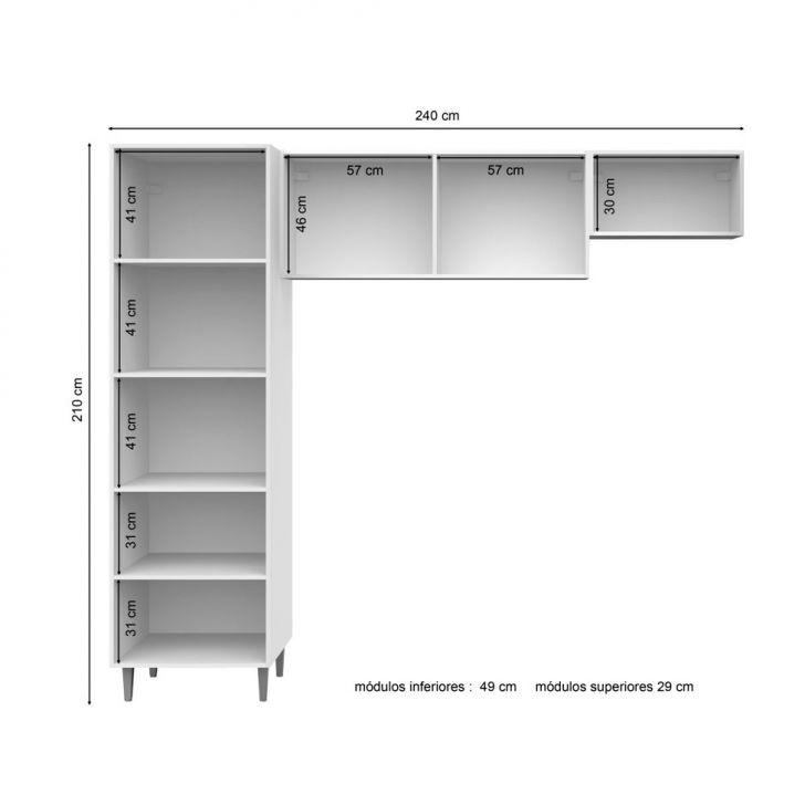 Cozinha Compacta 5 Portas Vega Ravena e Branco Madesa # Cozinha Compacta Ravena