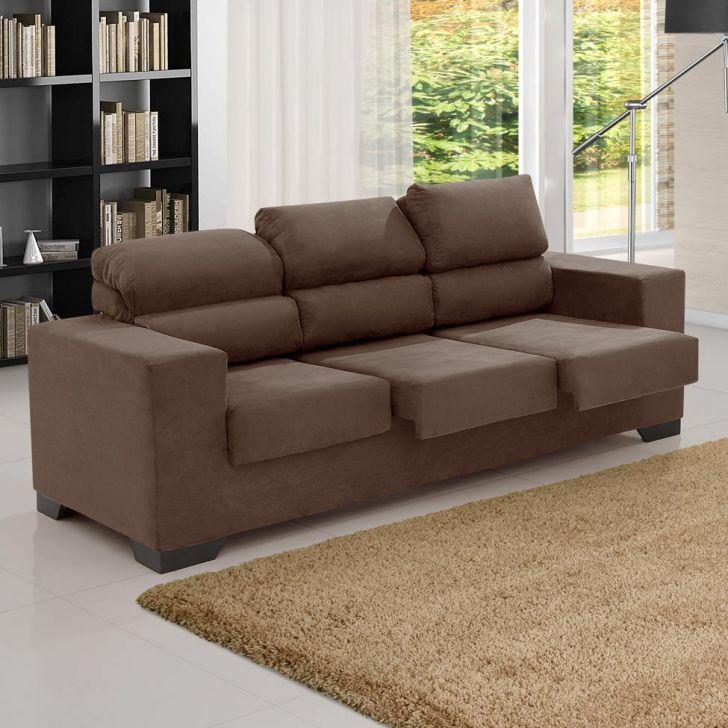 Sof 3 lugares retr til e reclin vel karise suede liso for Sofas com chaise e puff