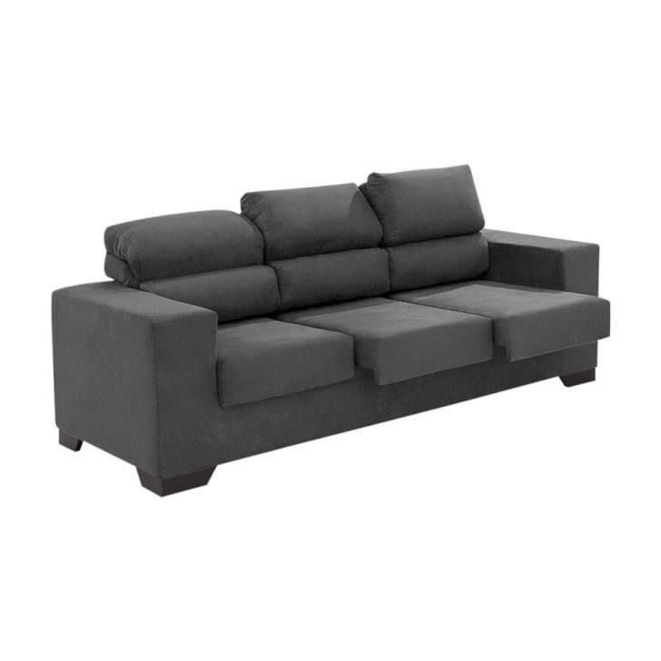 Sof 3 lugares retr til e reclin vel karise suede liso for Sofa 7 lugares retratil e reclinavel firenze