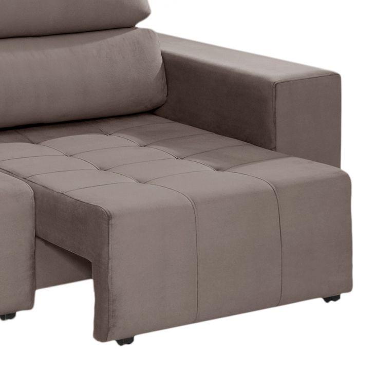 Sof 3 lugares retr til e reclin vel louise suede liso for Sofa 7 lugares retratil e reclinavel firenze