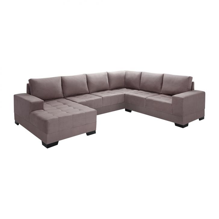 sof de canto 5 lugares com chaise patr cia suede marrom claro On sofa com chaise 5 lugares