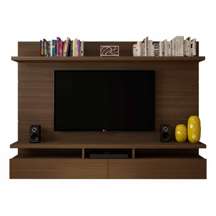 painel para tv 60 polegadas zeus castanho 220 cm. Black Bedroom Furniture Sets. Home Design Ideas