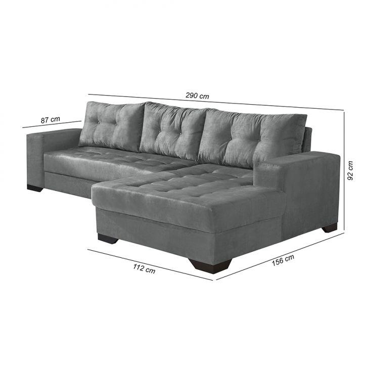 Sof 3 lugares dijon com chaise suede cinza - Medidas de sofas 3 2 ...