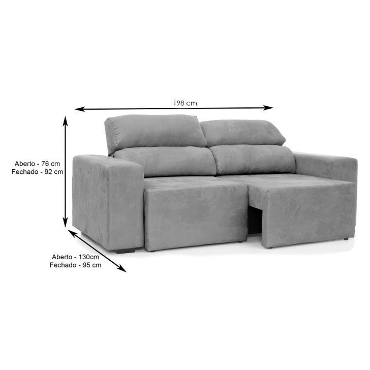 Sof 3 lugares retr til e reclin vel eureka suede fendi - Medidas de sofas 3 2 ...
