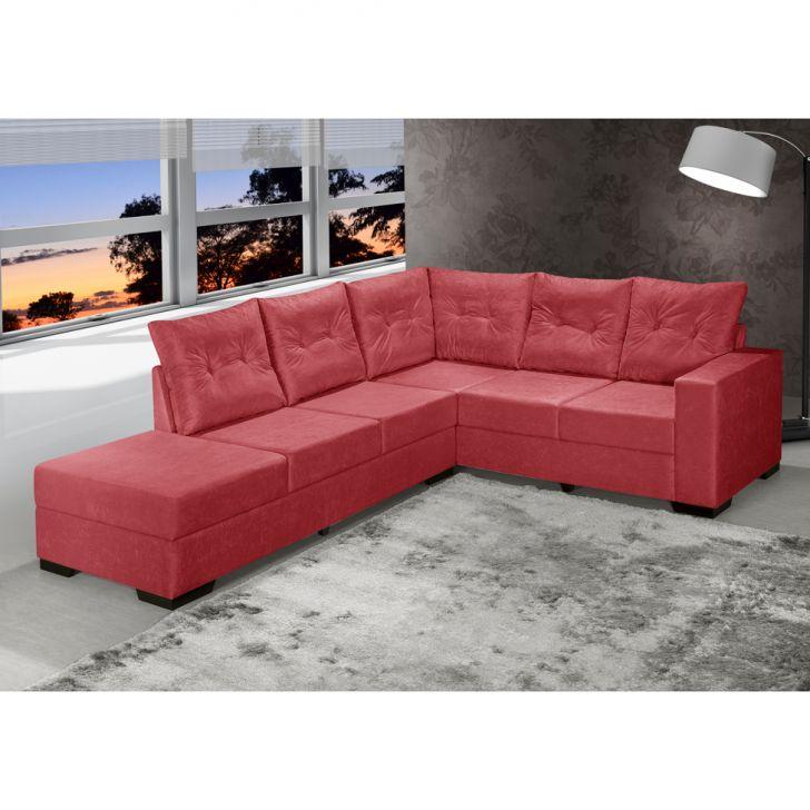 Sof de canto 5 lugares esquerdo cartagena suede vermelho for Sofa 5 lugares canto