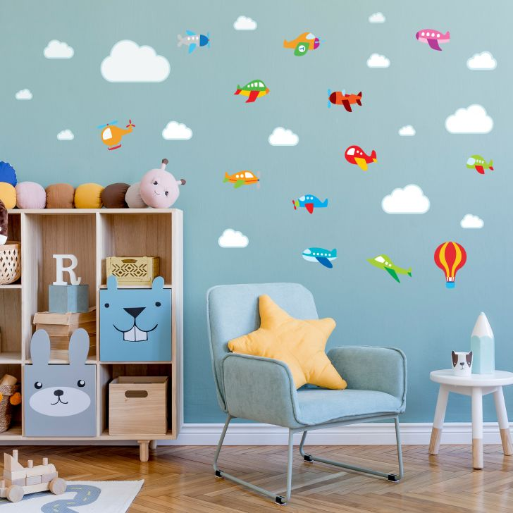 Aparador Livro Xadrez ~ Adesivo de Parede para Quarto de Beb u00ea Aviões e Nuvens
